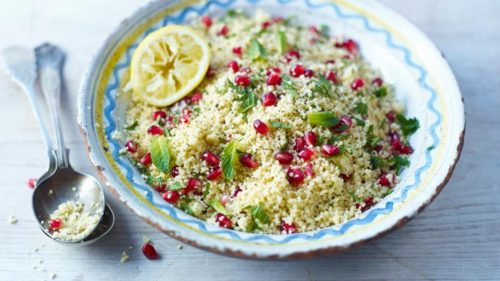 Roast Chicken with Lemon & Herb Stuffing and Pomegranate Couscous